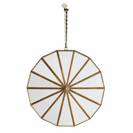 Madam Stoltz Mirror Round Borders brass gold Ø28cm