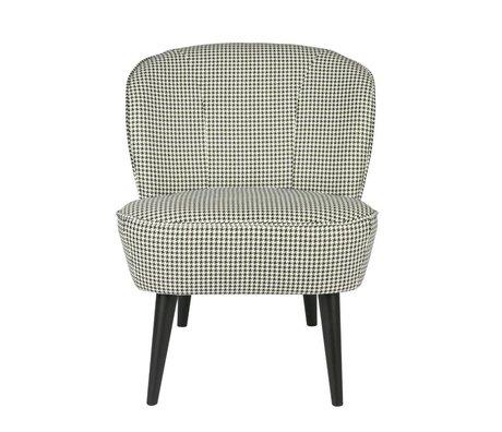 LEF collections Sessel Sara Hahnentritt schwarz / weiß grau Textil 70x59x71cm