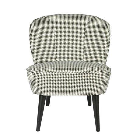 LEF collections Armchair Sara pied de poule black / white gray textile 70x59x71cm