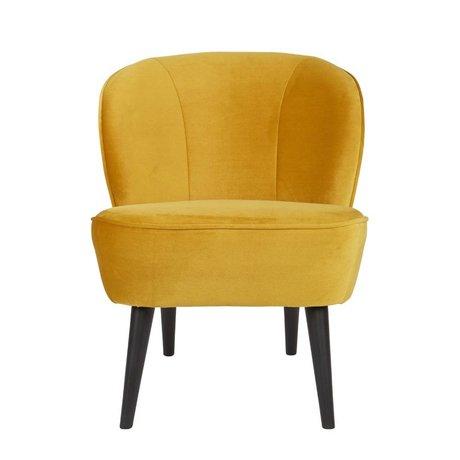 LEF collections Armchair Sara yellow yellow velvet polyester 70x59x71cm