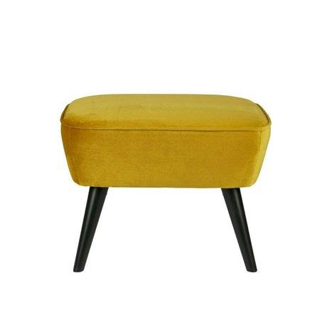 LEF collections Hocker Sara yellow yellow velvet polyester 56x36x41cm