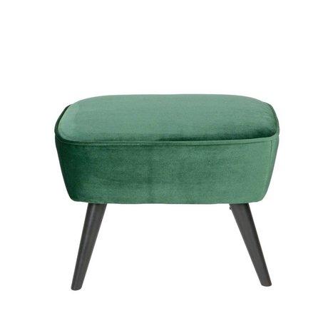 LEF collections Hocker Sara groen fluweel polyester 56x36x41cm