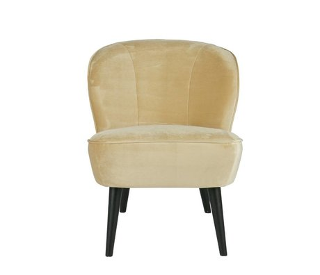 LEF collections Fauteuil crème champagne Sara blanc 70x59x71cm polyester velours