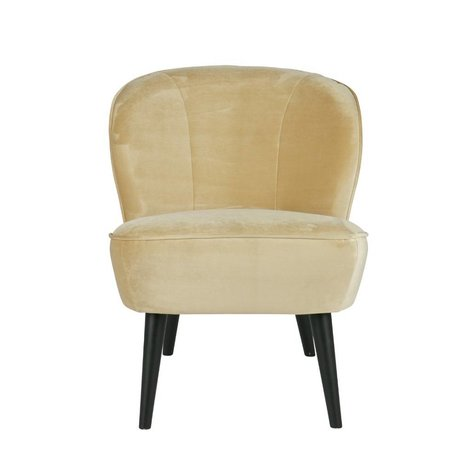 LEF collections Fauteuil Sara champagne créme wit fluweel polyester 70x59x71cm