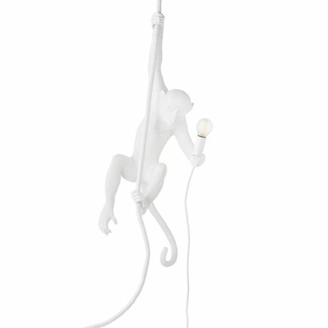 Seletti Hanging lamp The Monkey white artificial fabric 27x30x80cm
