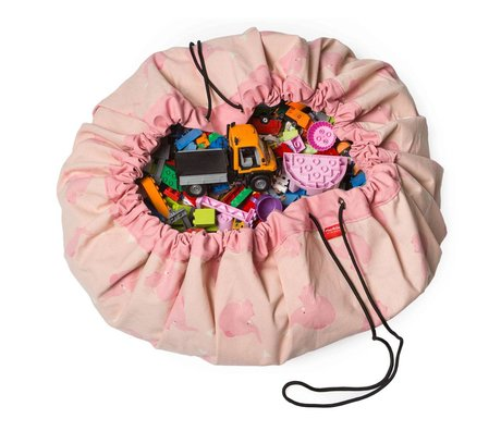Play & Go Sac de rangement / tapis de jeu Pink Elephant par CLRA coton rose Ø140cm