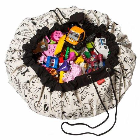 Play & Go Sac de rangement / tapis de jeu ColorMap par Ø140cm coton noir Omy