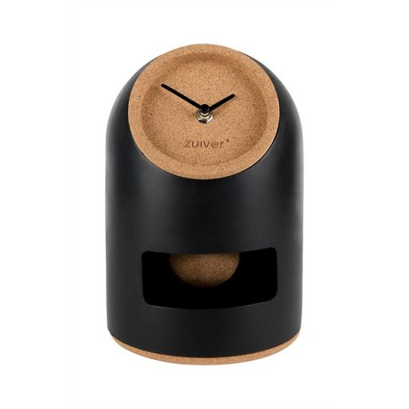 Zuiver Table clock Uno black concrete cork Ø17x24,5cm
