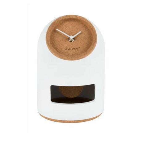 Zuiver Horloge de table Uno liège en béton blanc Ø17x24,5cm