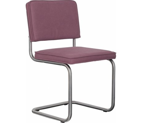 Zuiver Damage Dining chair brushed tube frame vieux pink cotton 48x48x85cm