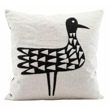 Housedoctor Kussenhoes Bird zwart wit katoen 50x50cm