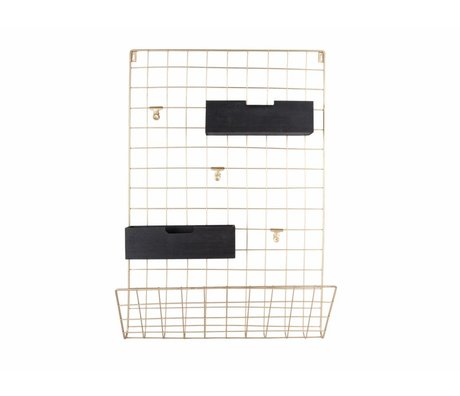 pt, 66x45x13cm bois en métal doré Memobord