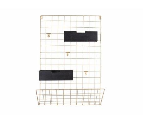 pt, Memobord goud metaal hout 66x45x13cm