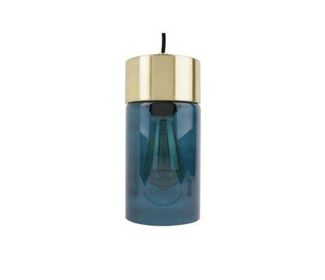 Leitmotiv lumière pendentif en or Lax verre bleu Ø12cmx24,5cm