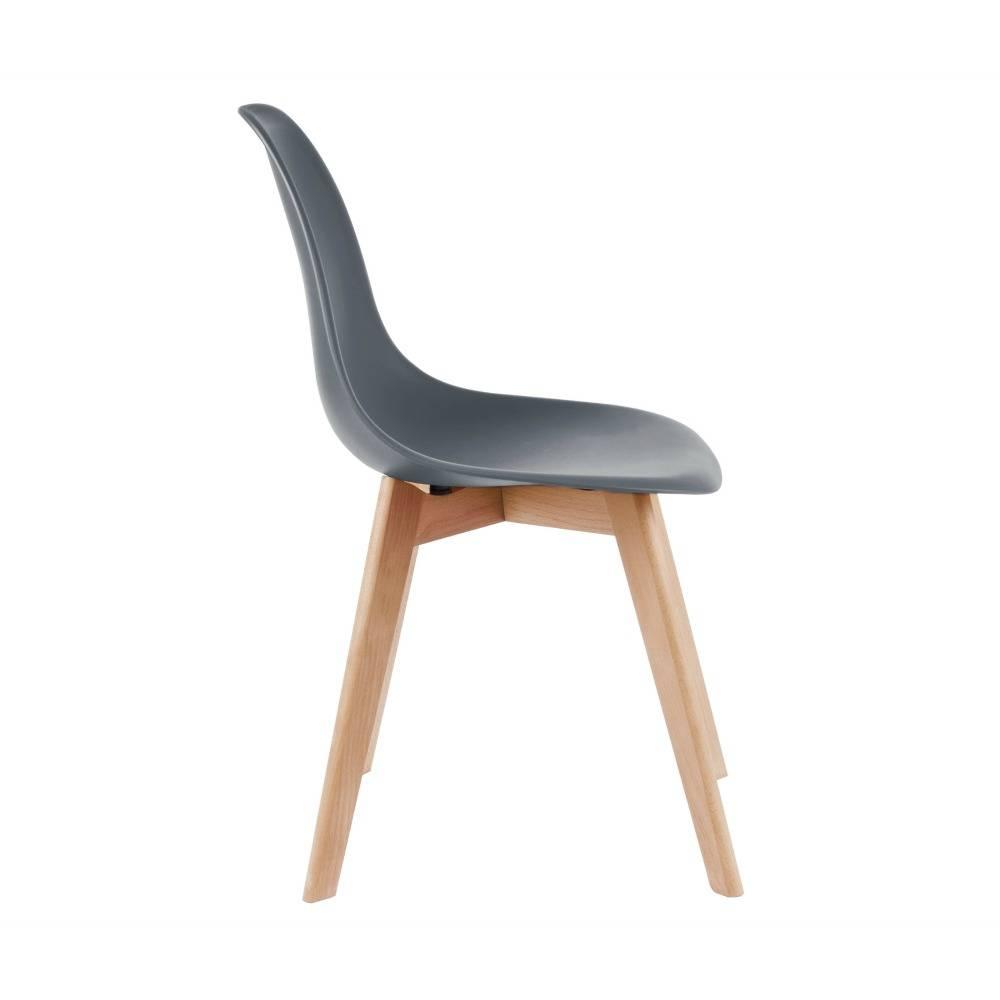 Leitmotiv salle bois chaise plastique gris primaire for Chaise plastique bois