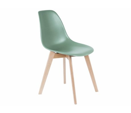 Leitmotiv chaise à manger bois plastique vert élémentaire 80x48x38cm