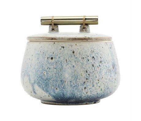 Housedoctor Opbergbakje met deksel Diva grijs blauw aardewerk Ø14x12cm