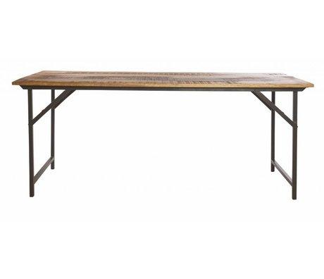Housedoctor Schade eettafel 'party' grijs metaal/hout bruin 180x80x74 cm