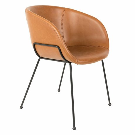 Zuiver chaise à manger feston brun skaï 54,5x53x88,5cm