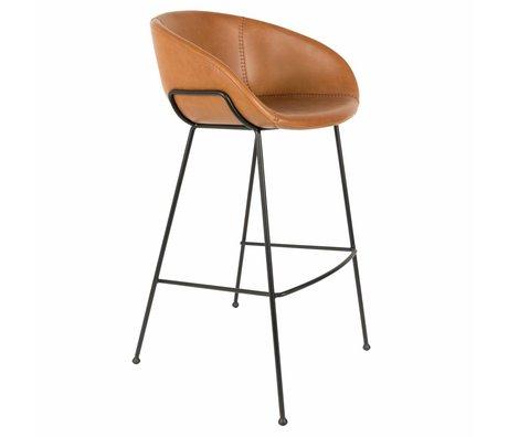 Zuiver Tabouret de bar feston brun skaï 54,5x53x98,5cm