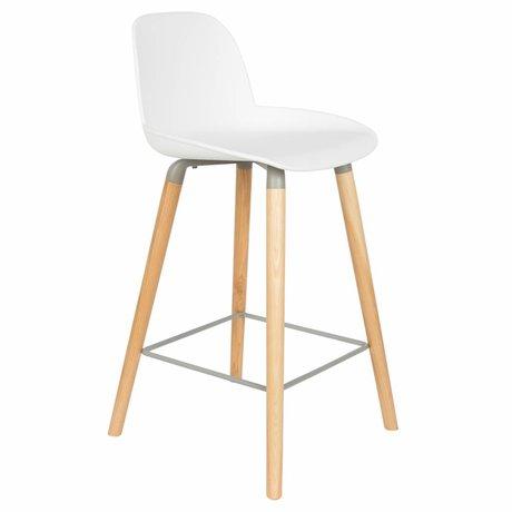 Zuiver Albert Barstool Kuip Contre bois plastique blanc 45x47,5x89cm