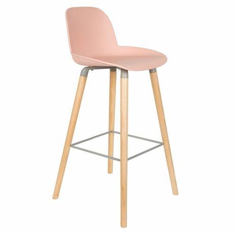 Zuiver Stool Albert Kip pink plastic wood 50x48x99cm