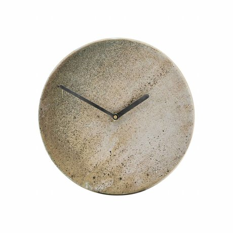 Housedoctor Clock Metro brown earthenware Ø22cm