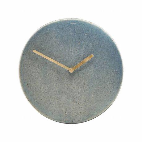 Housedoctor bleu horloge Metro céramique grise Ø22cm