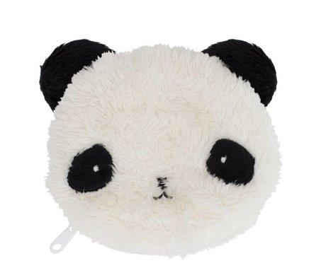 A Little Lovely Company Portemonnee Fluffy panda zwart wit acryl 12.5x11x2cm