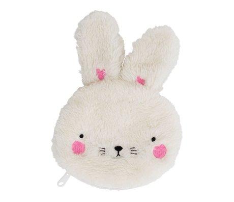 A Little Lovely Company Fluffy Bunny Geldbeutel weiß Acryl 12x15x2cm