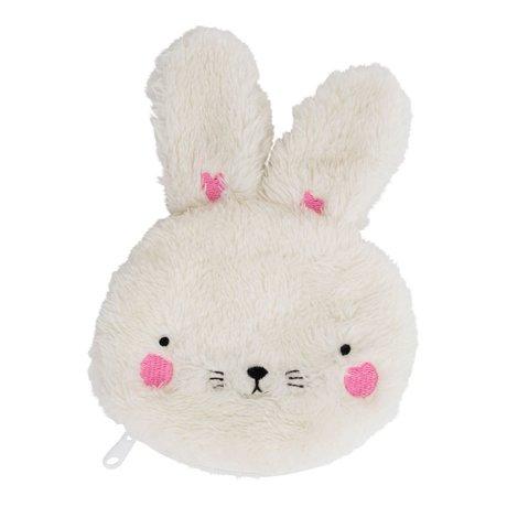 A Little Lovely Company bourse lapin blanc duveteux 12x15x2cm acrylique