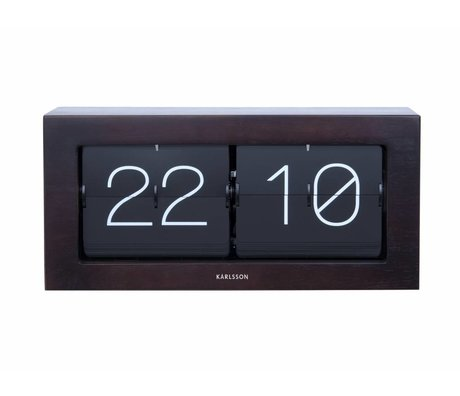 Karlsson Flip clock Boxed dark brown wood steel 17,5x37cm