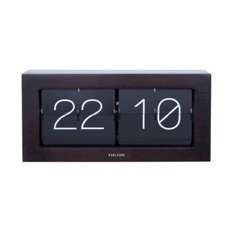 Karlsson Flip Clock Boxed dunkelbraunen Holz Stahl 17,5x37cm