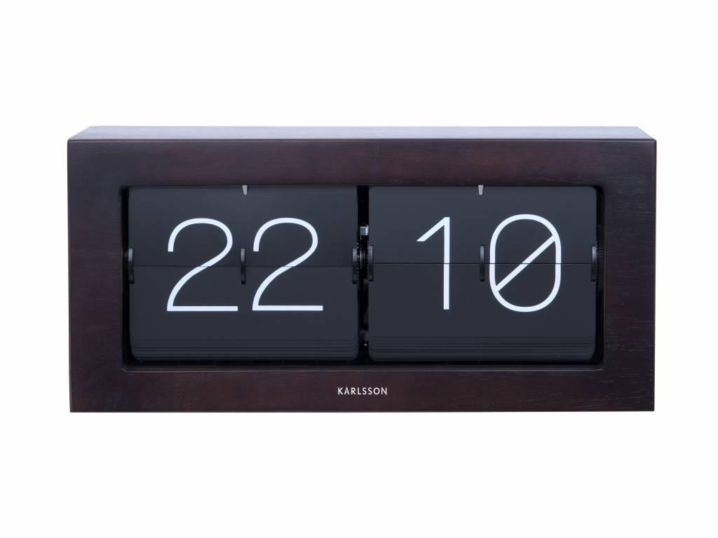 Karlsson Flip Klok : Karlsson flip clock boxed dark brown wood steel cm wonen