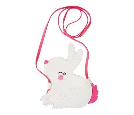A Little Lovely Company Schoudertasje Little Bunny wit roze acryl 14x16x0.3cm