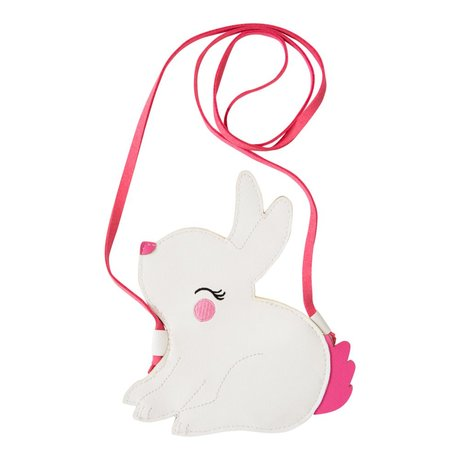 A Little Lovely Company Shoulder bag Little Bunny white pink acrylic 14x16x0.3cm