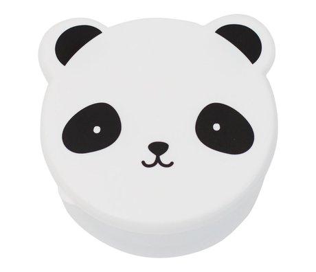 A Little Lovely Company Lunchtrommel snack box Panda zwart wit kunststof set van 4