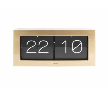 Karlsson Flip clock Boxed gold steel 17,5x37cm