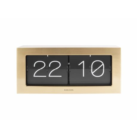 Karlsson Flip Clock Boxed Gold Stahl 17,5x37cm