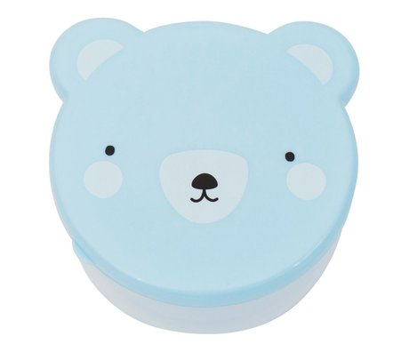 A Little Lovely Company Lunchbox collation boîte ours plastique bleu ensemble de 4