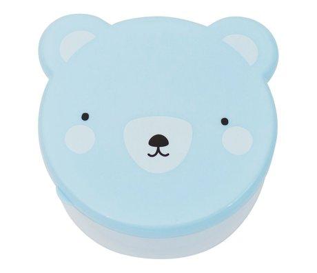 A Little Lovely Company Lunchbox Snack-Box Bär blaue Kunststoff-Satz von 4