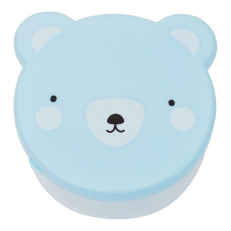 A Little Lovely Company Lunchtrommel snack box Bear blauw kunststof set van 4