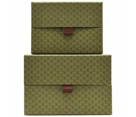 Housedoctor Opbergset Fan groen leer karton medium set van 2