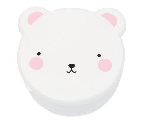 A Little Lovely Company Lunchbox Snack-Box Bär weiß rosa Kunststoff Satz von 4