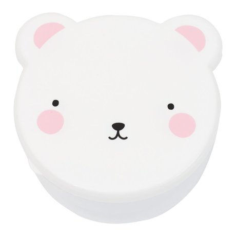 A Little Lovely Company Lunchtime snack box Bear white pink plastic set of 4