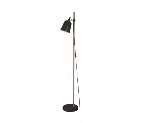 Leitmotiv Vloerlamp Wood-Like zwart metaal Ø15x14x149cm