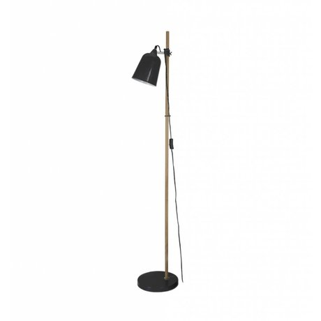 Leitmotiv Lampadaire bois Comme métal noir Ø15x14x149cm