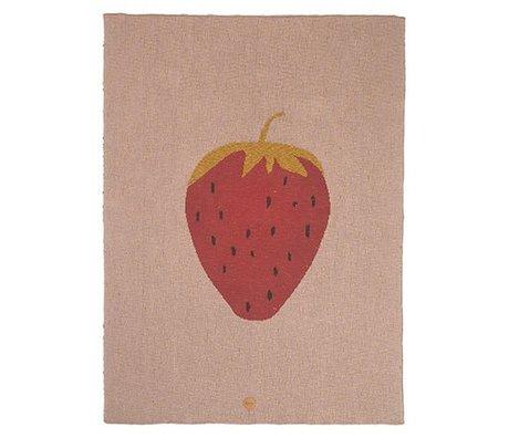 Ferm Living Fraise couverture en coton rose 80x100cm