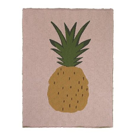Ferm Living Blanket Pineapple pink brown cotton 80x100cm
