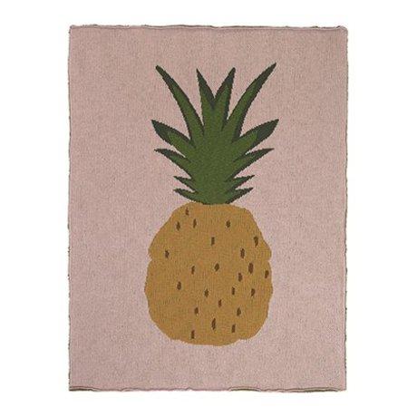 Ferm Living Blanket Pineapple pink brown cotton 80x100cm
